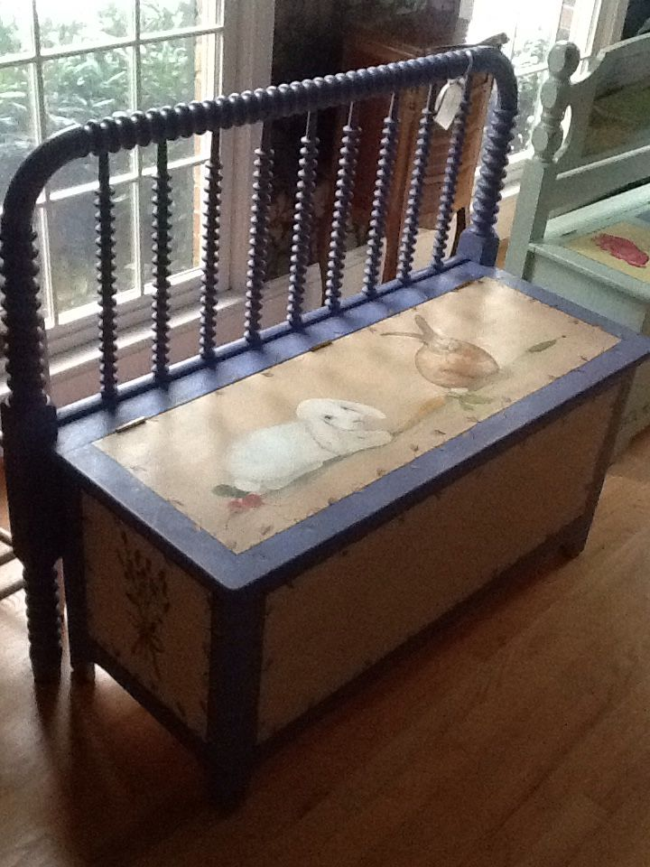 Settee/storage chest from antique headboard