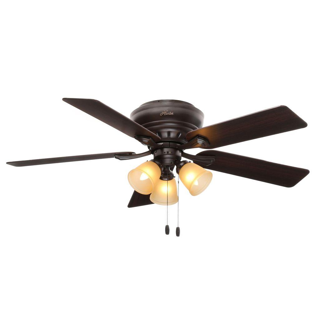 Hunter Reinert 52 In Indoor Low Profile White Ceiling Fan With