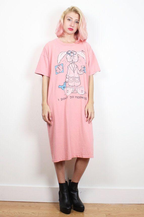 Vintage 1980s Tshirt Nightgown Pink Sleepy Bunny Rabbit I Don\'t Do ...