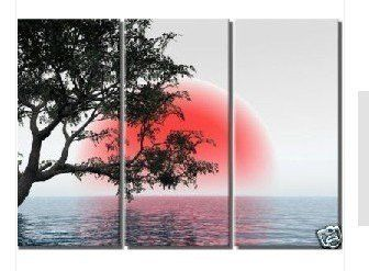 Japanese Red Sun 3 Piece Wall Art Free Global Shipping Framed Oil Painting Abstract Oil Painting Trees Japanese Wall Art