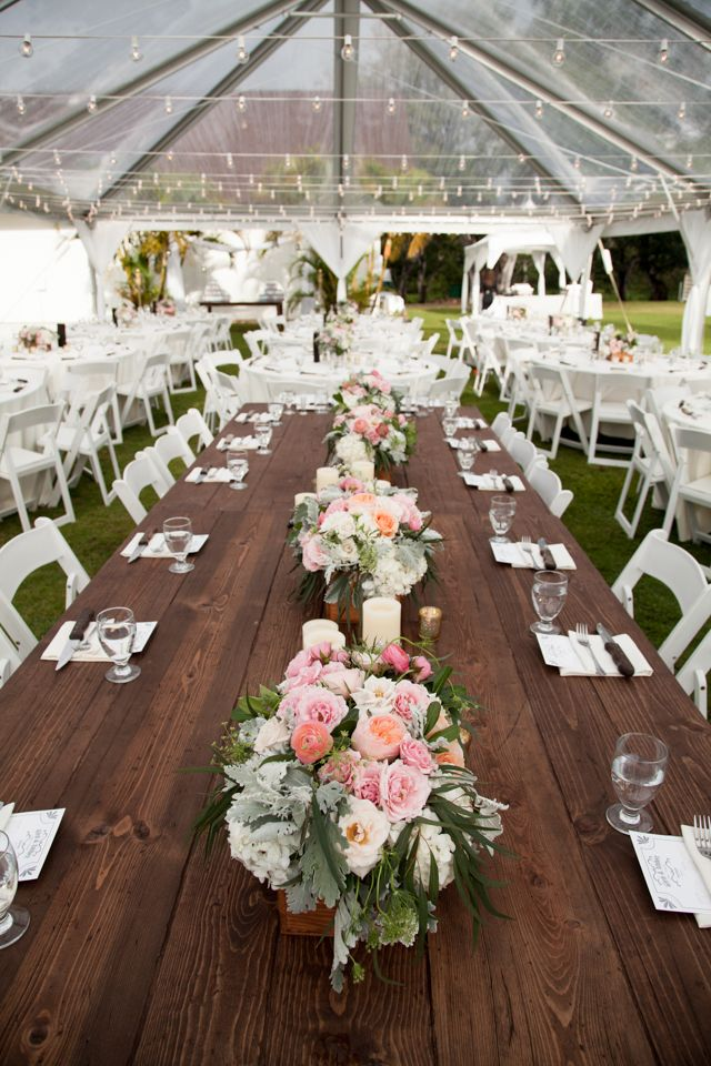 Reception with Farmhouse Tables - Elizabeth Anne Designs ... |Farmhouse Table Wedding Reception