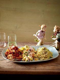 Romantisches Candle-Light-Dinner am Valentinstag: Pasta in drei Variationen.