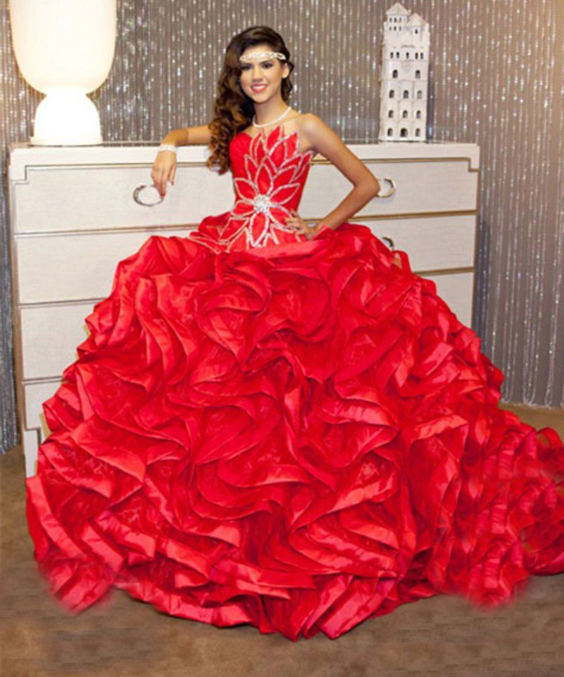 5b5f9599dbe Red Quinceanera Dresses with beaded sleeveless ball gown for sweet 16  vestidos de 15 anos debutante gown