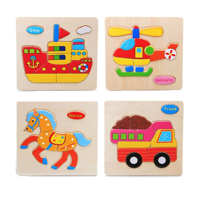 NEW Colorful Kid Wooden Animals Cartoon Picture Puzzle Kids Baby Educational Toy