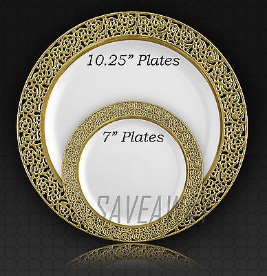 Elegant Wedding Party Disposable Plastic Plates Inspiration White - Gold & Elegant Wedding Party Disposable Plastic Plates Inspiration White ...