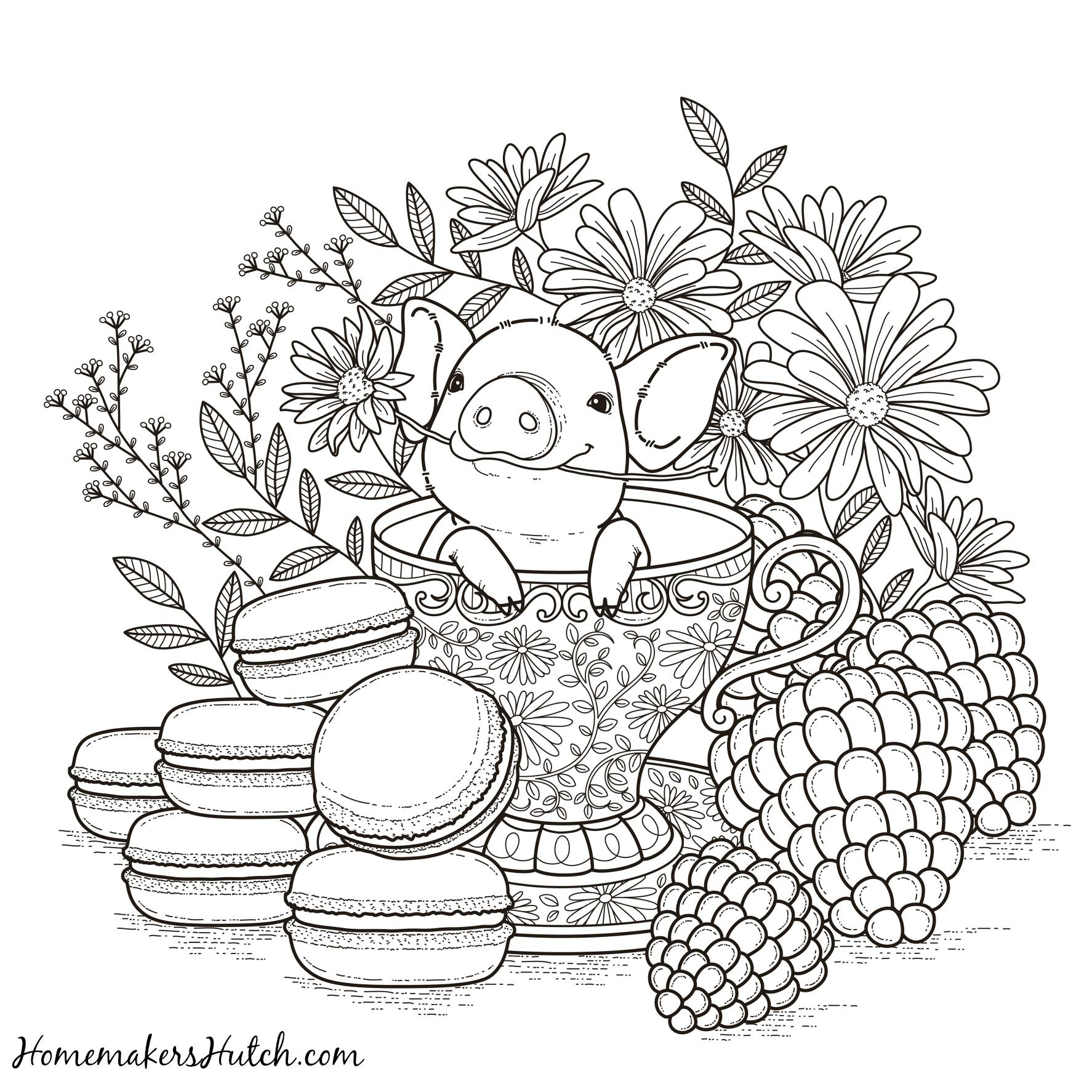 pig in a tea cup adult coloring page - Pig Coloring Pages