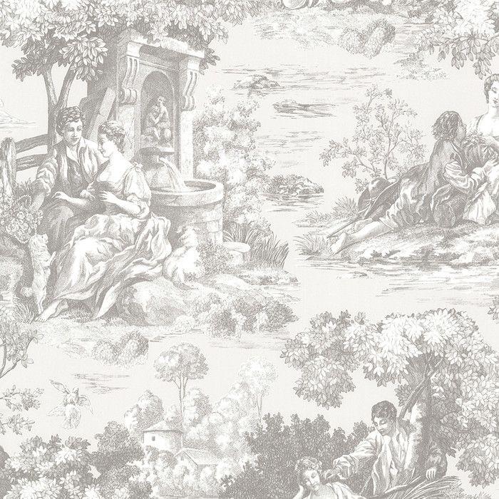 "Brewster Home Fashions 33' x 20.5"" Benvolio Toile Wallpaper & Reviews | Wayfair"