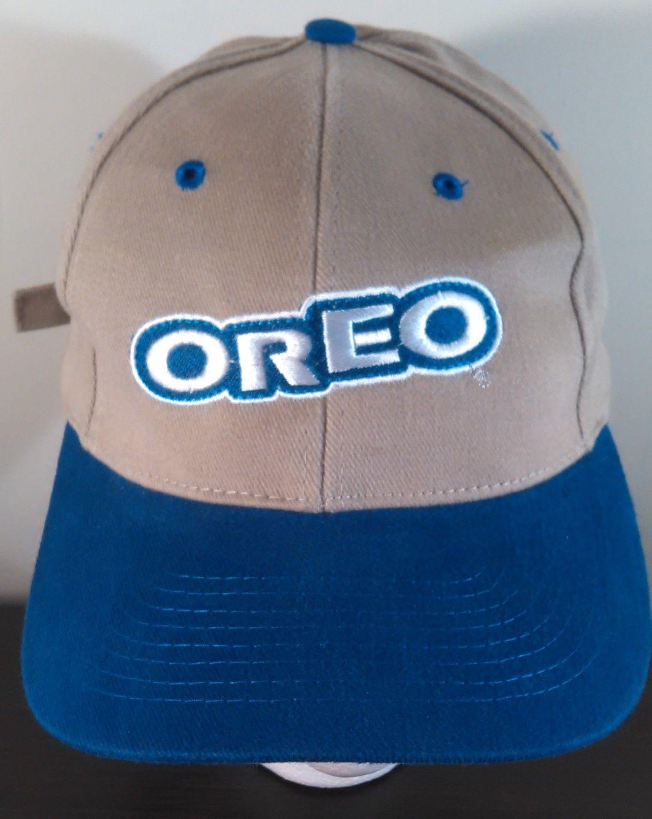 ae1b71b85e5f0 Vintage Embroidered OREO Baseball Hat NISSIN Cap Clamp Back Blue Tan Soft  Nascar
