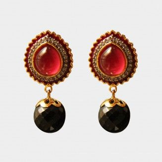 Red Onyx Earrings. Shop at http://www.tadpolestore.com/haya #India #Indian #designer #earrings #jewellery #women's accessories #party #wedding #onyx