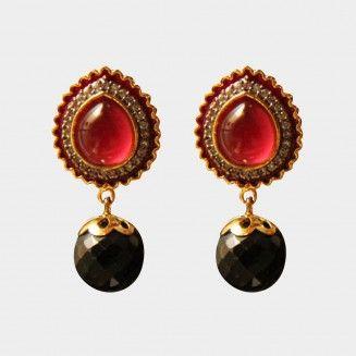 Red Onyx Earrings. Shop at http://www.tadpolestore.com/haya #India #Indian #designer #earrings #jewellery #women's accessories #party #wedding #onyx