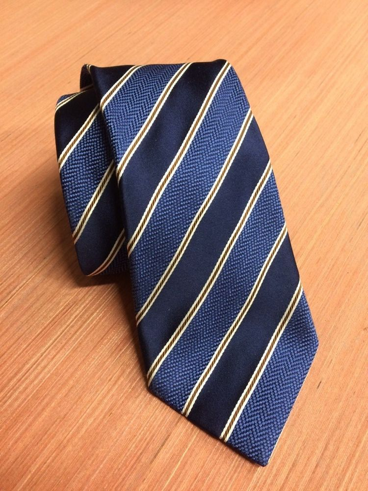 c797715635 ERMENEGILDO ZEGNA Dark Blue Stripe Patterned Silk Tie #fashion ...