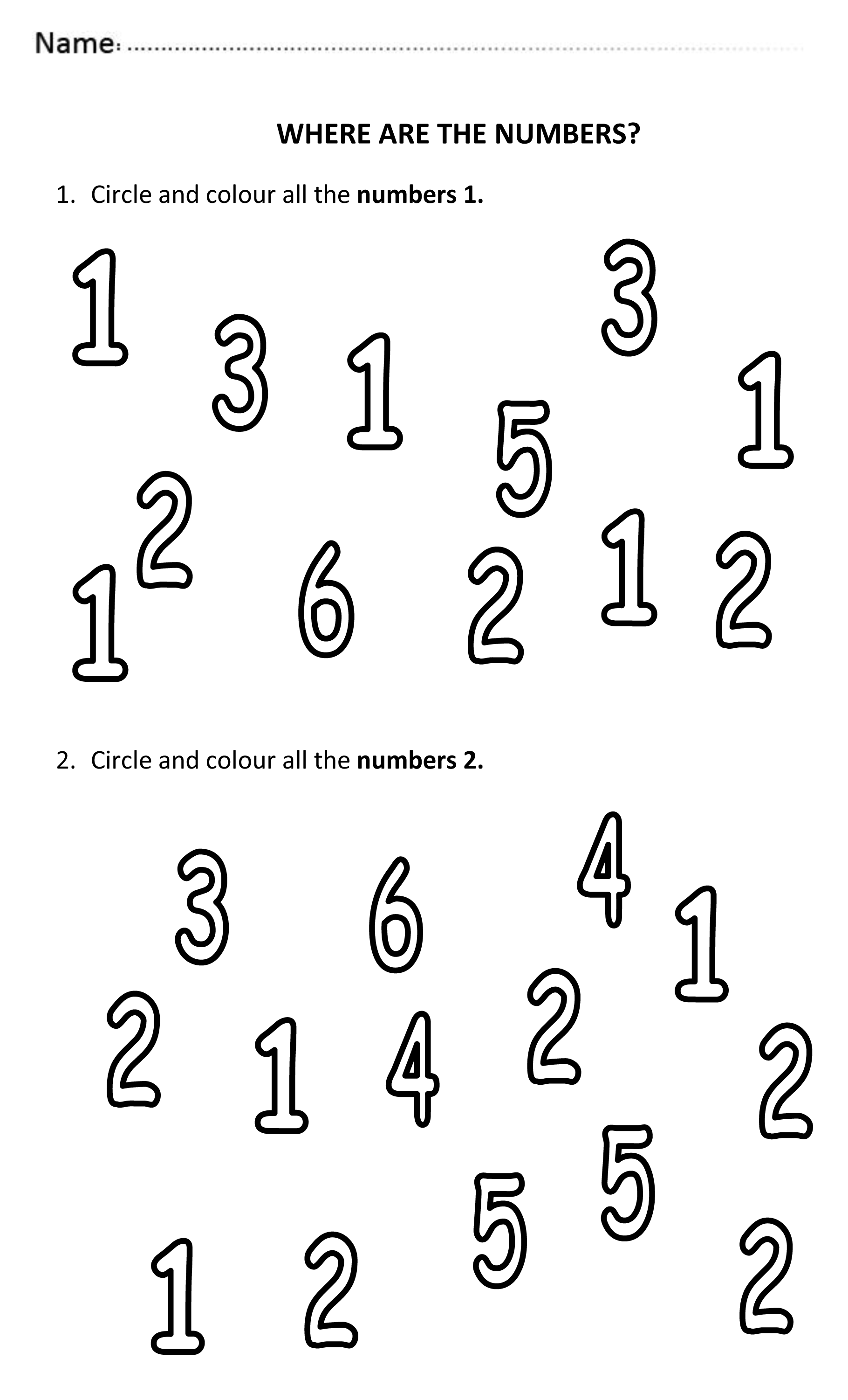 3 Pages Of Easy And Fun Worksheets Where Students Need To Find The Numbers 1 To 6 And Colour