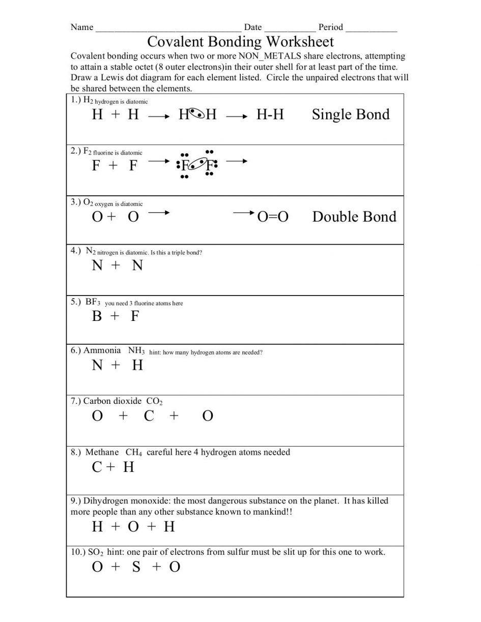 Printables. chemical bonding worksheet: Chemical Bonding Worksheet ...