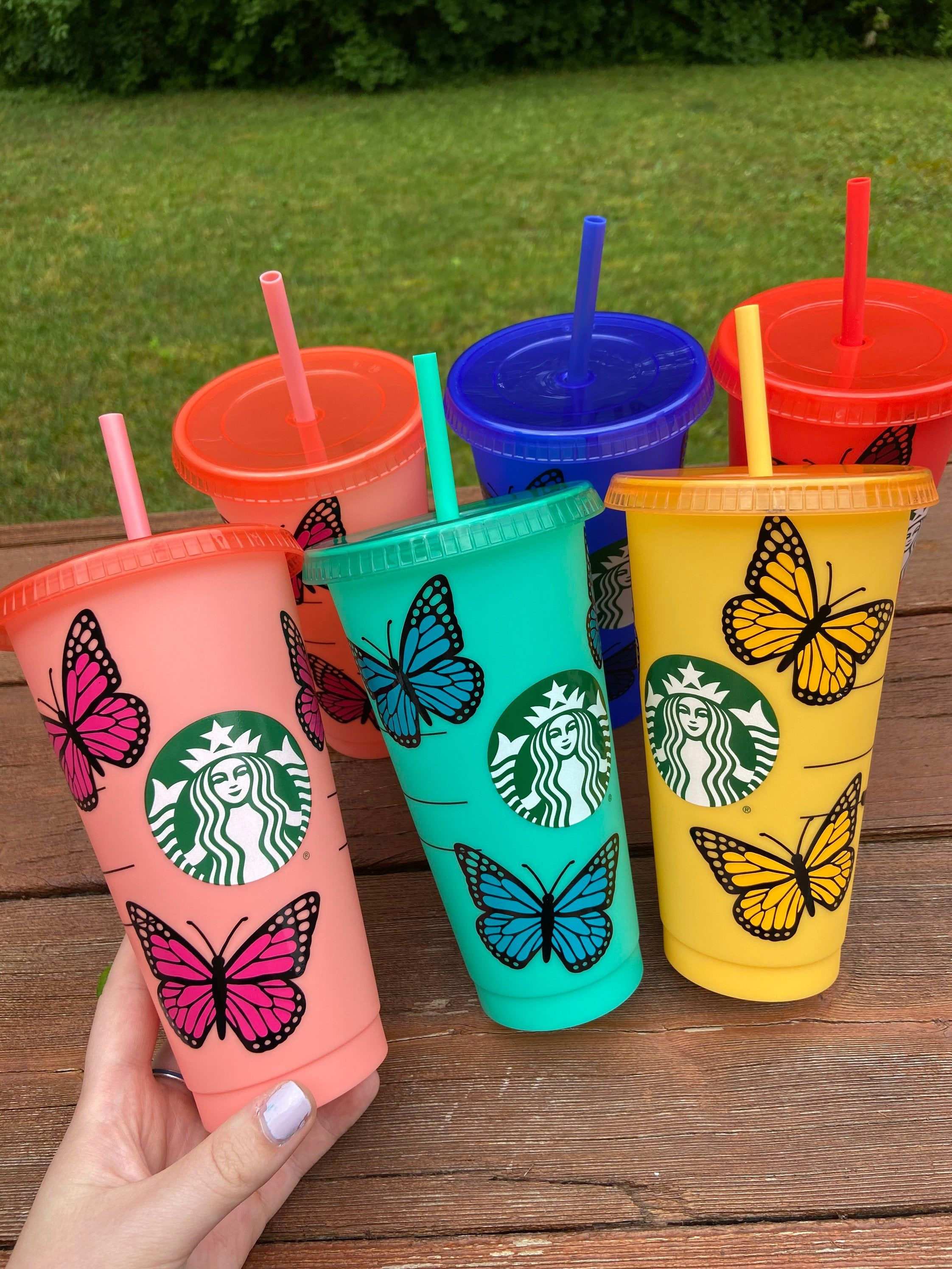 Color changing starbucks cups butterfly starbucks tumblers
