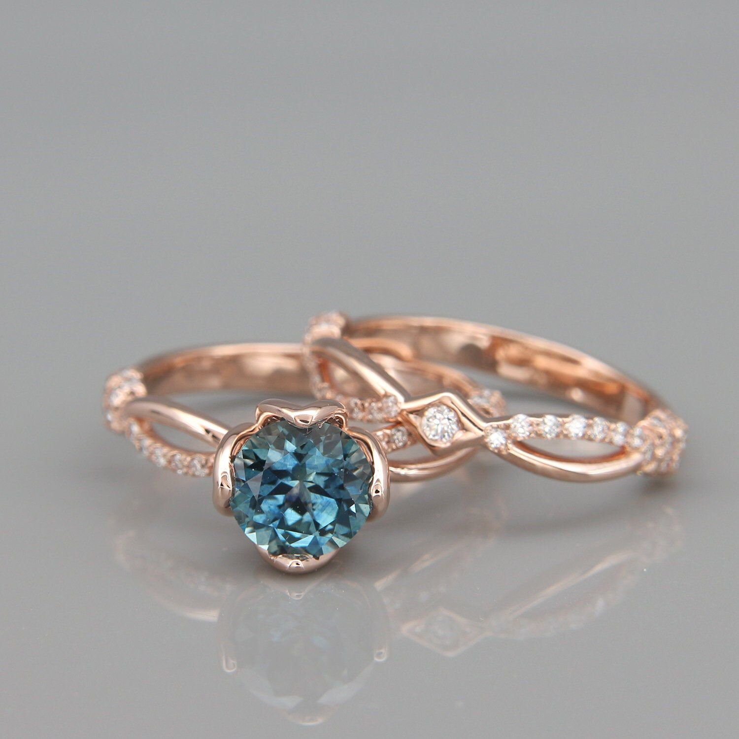 14K Rose Gold Teal Sapphire and Diamonds Bridal Rings Set