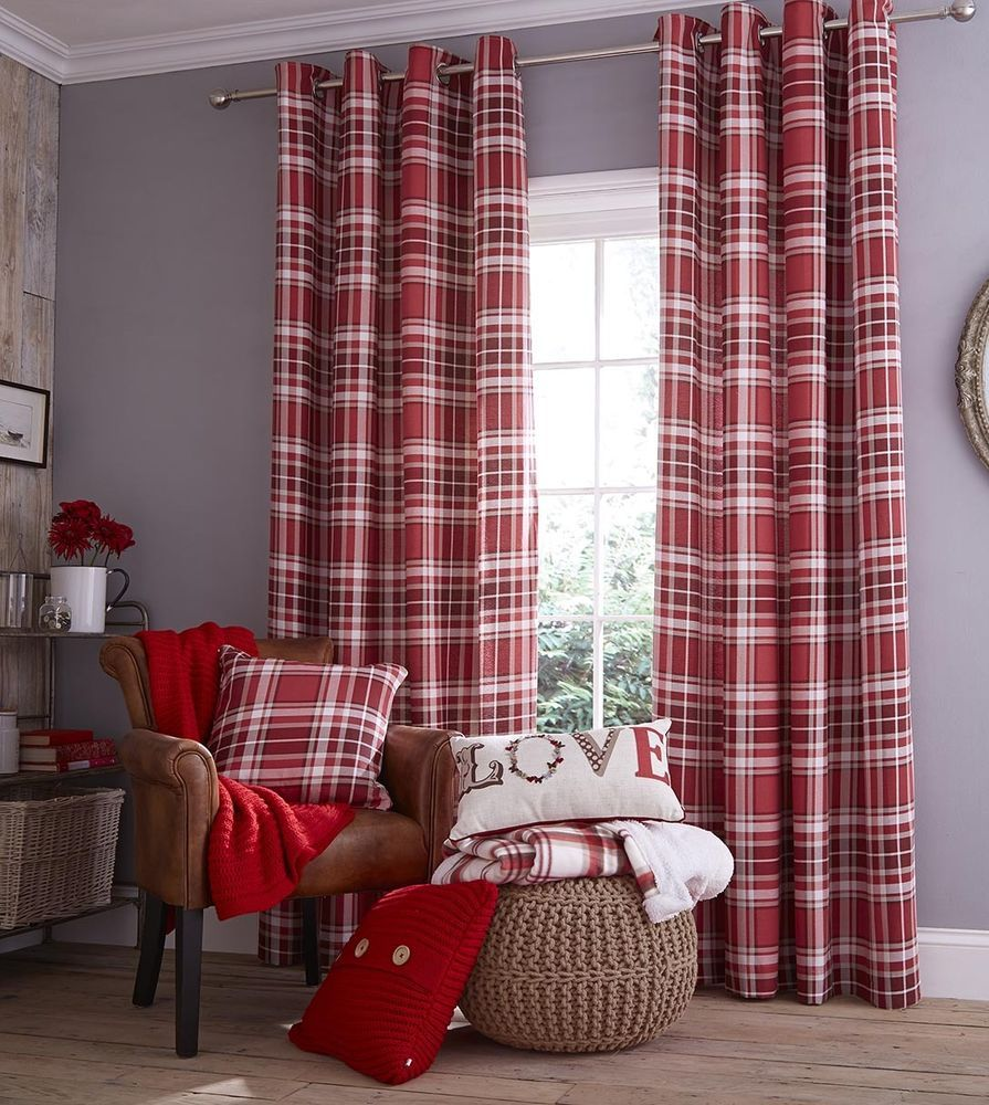 Twill Check Eyelet Red Curtains in Various Sizes