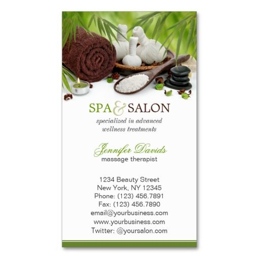 Spa Massage Salon Business Card Template Make Your Own Business