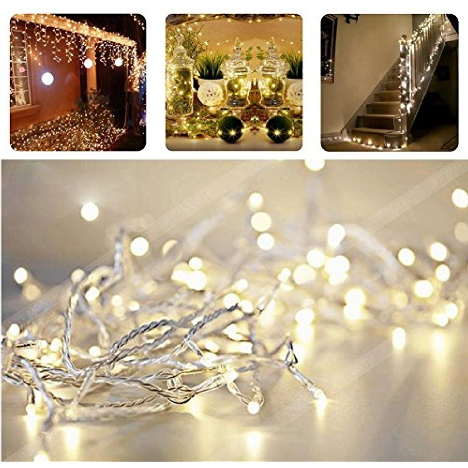 REDGO Linkable Wedding Waterproof 10M 33FT 100LED 8 Modes Fairy ...