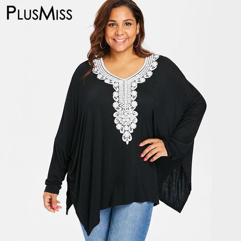 2e94dab26b8 PlusMiss Plus Size Loose Lace Crochet Batwing Sleeve Tops Women 5XL XXXXL  XXXL Autumn 2018 Black
