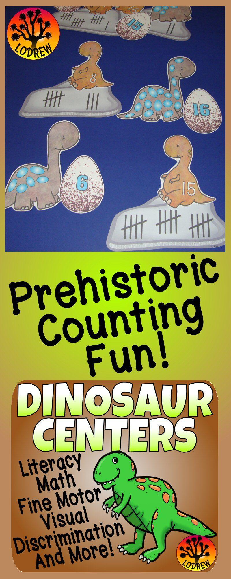 Dinosaur Centers Activities Literacy Math Fine Motor Prehistoric ...