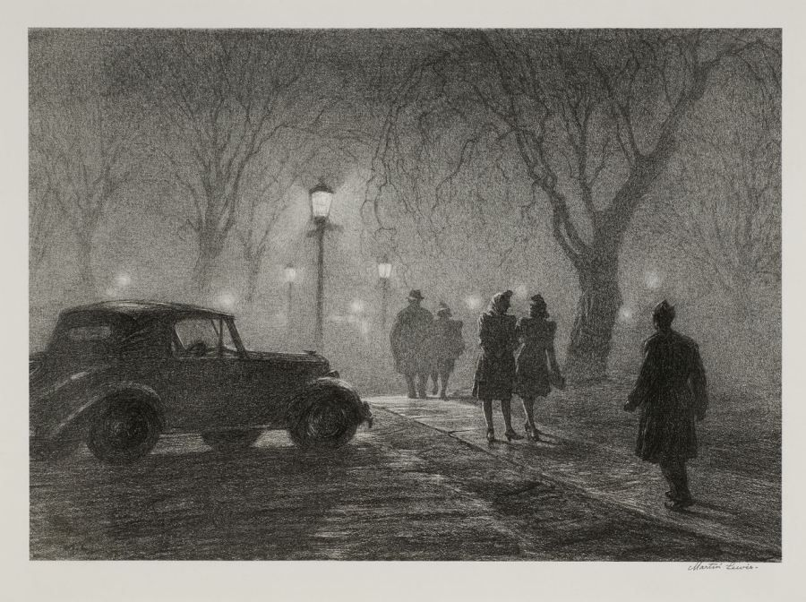 """Lewis_Misty Night Martin Lewis (American, 1881-1962) Misty Night, Danbury, 1947 Lithograph,11 x 15 ¼"""" Collection of Dr. Dorrance T. Kelly ©Estate of Martin Lewis"""