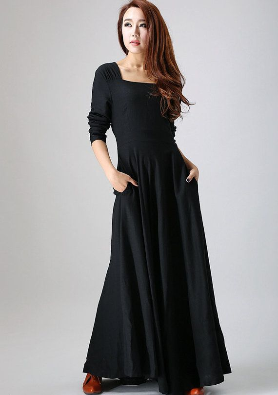 04572186321511 Black dress linen, maxi dress, long sleeves dress, prom skirt, party ...