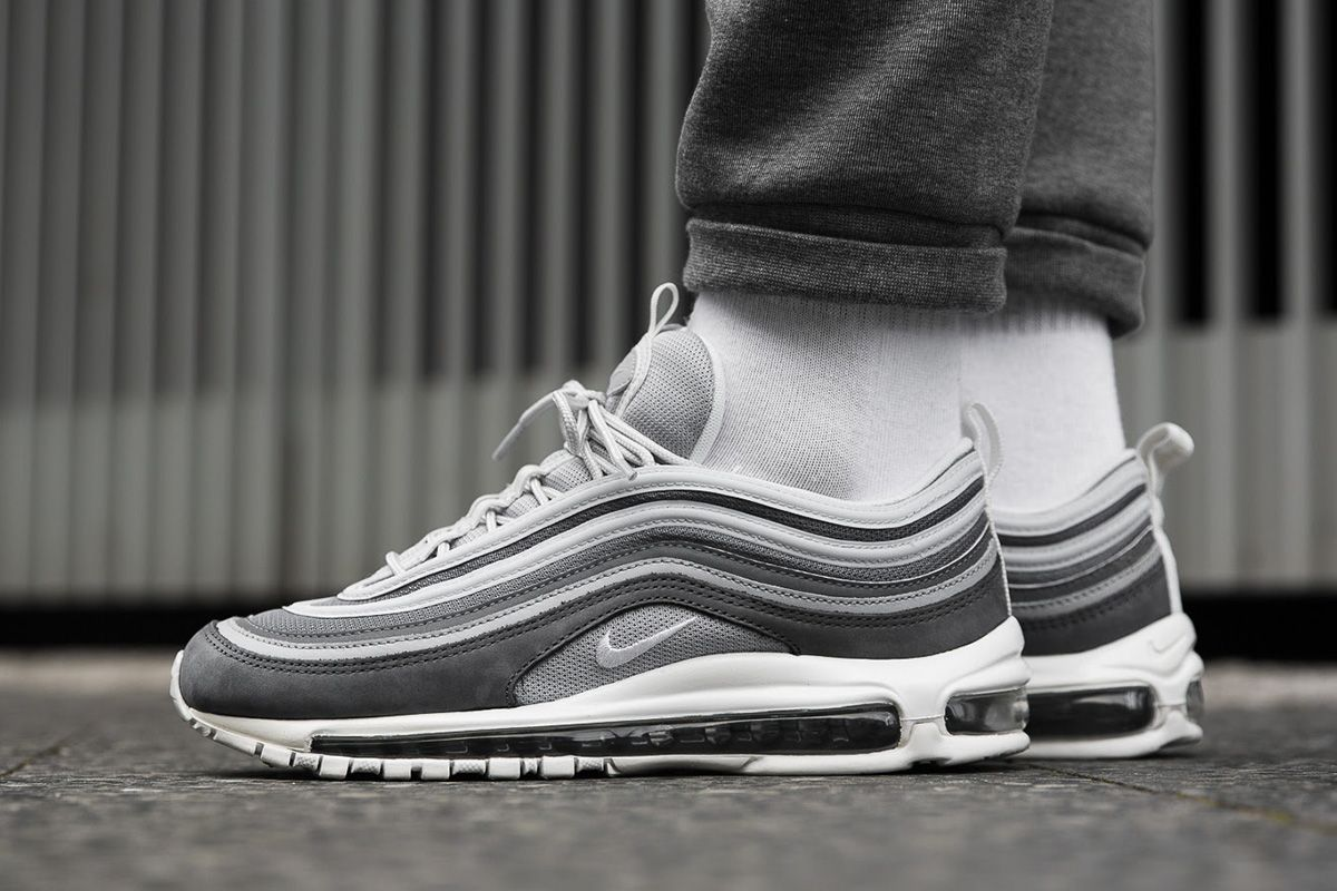On Foot Nike Air Max 97 Premium Wolf Grey With Images Nike