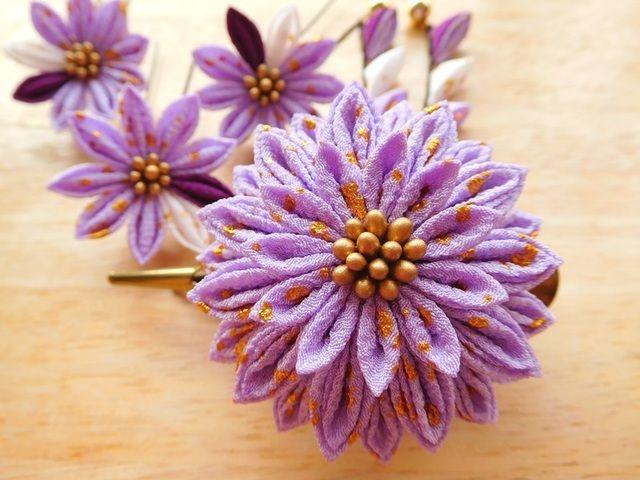 薄紫金箔柄 剣花のくちばしクリップ&Uピンセット #つまみ細工