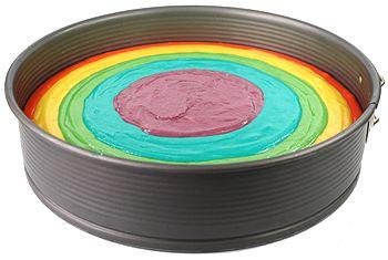 Regenbogen kuchen mit frischkase
