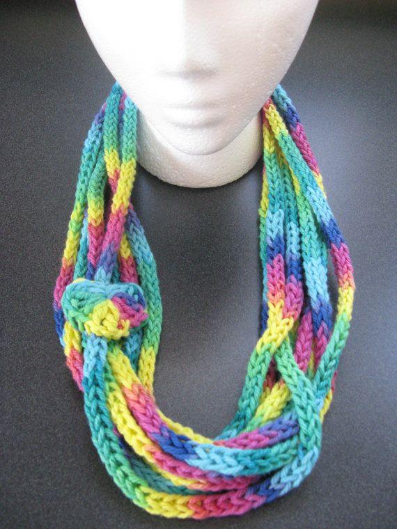 Slim Infinity Scarf, Crocheted Necklace, Rainbow Garland, Handmade ...