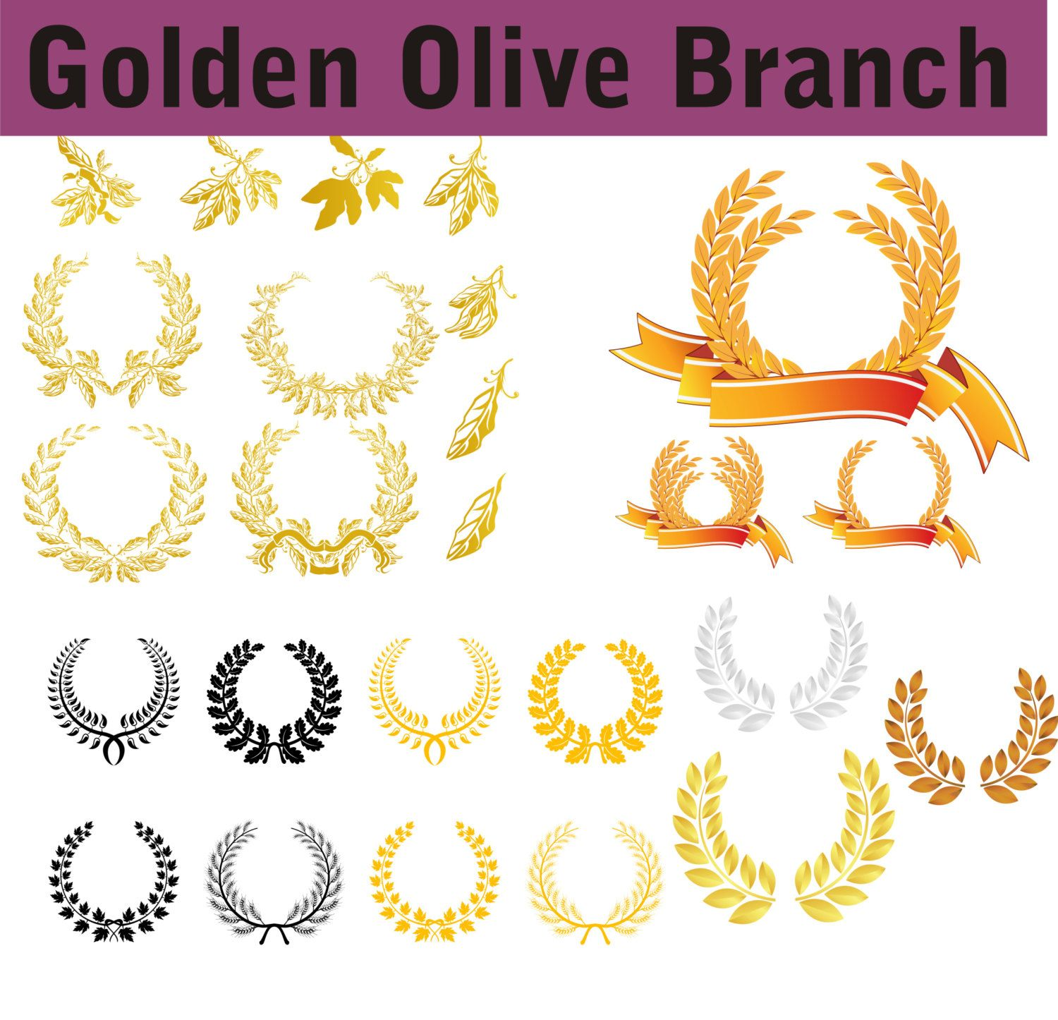 Golden Olive Branch Vector Eps Svg Digital Instant Download Clipart Clip Art Printable Party Items Decorations Birthday Branch Vector Olive Branch Party Items