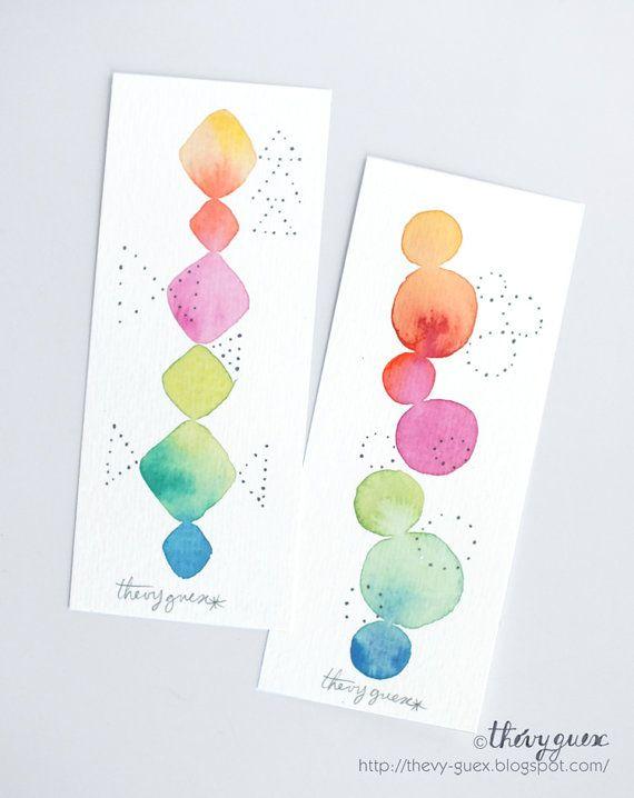 Set Of 2 Original Geometric Watercolor Handpainted Paper Bookmarks