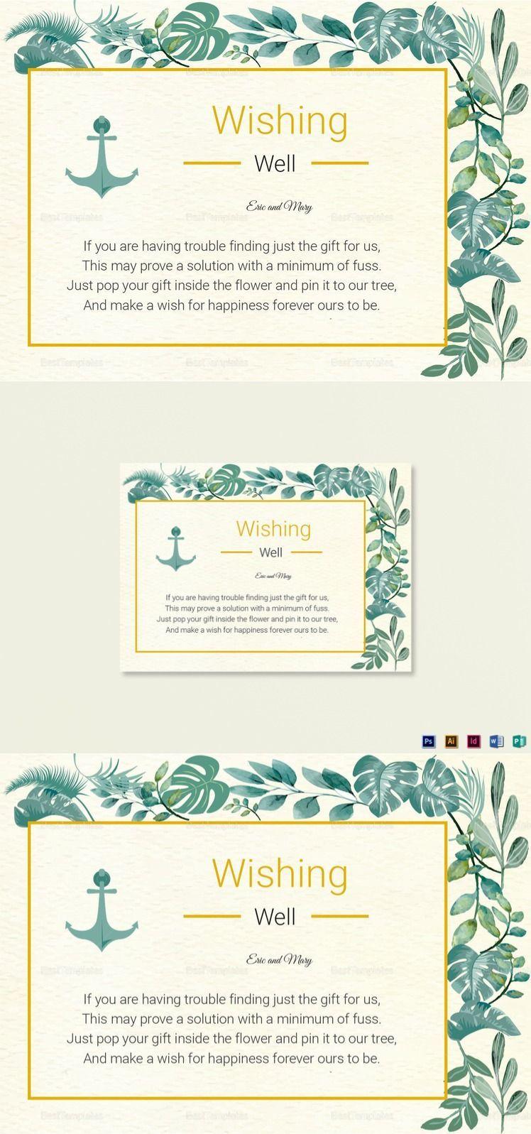 Nautical Wishing Well Card Template Wishing well