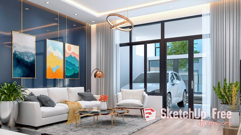 1289 Interior House Scene Sketchup Model Free Download In 2020 Interior Sketchup Model 3d Interior Design
