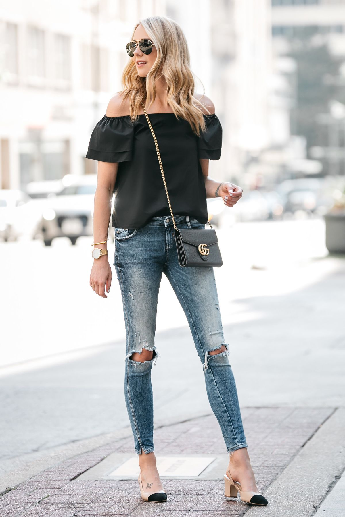 Fashion Jackson, Dallas Blogger, Fashion Blogger, Street Style, Black Short  Sleeve Off-the-shoulder top, Zara Denim Ripped Skinny Jeans, Gucci Marmont  ... 945f628d04