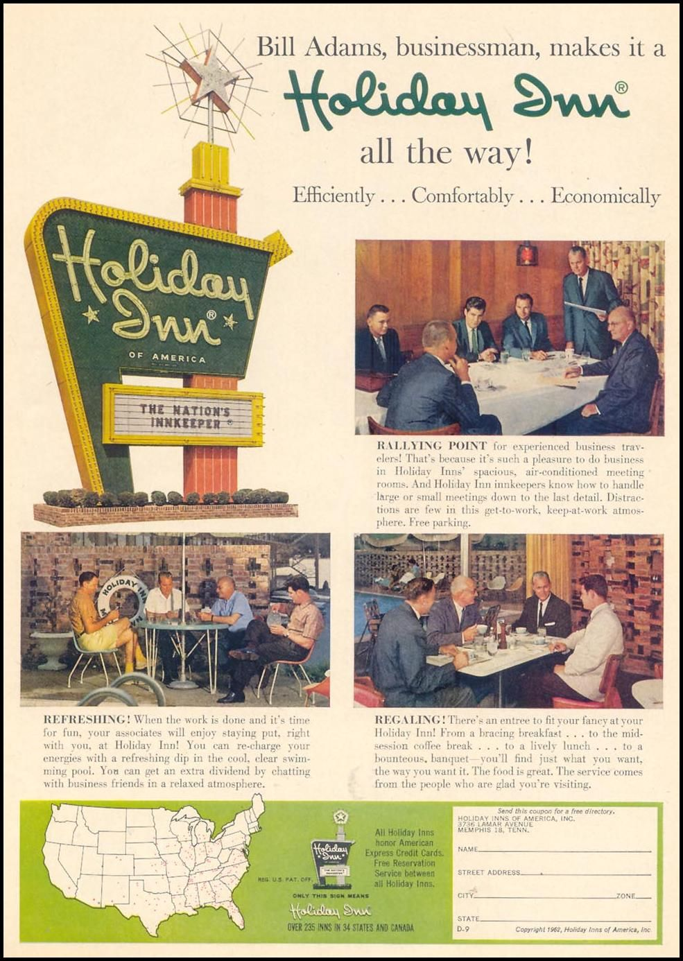 Holiday Inn Motels Ad Time 02 23 1962 Holiday Inn Vintage