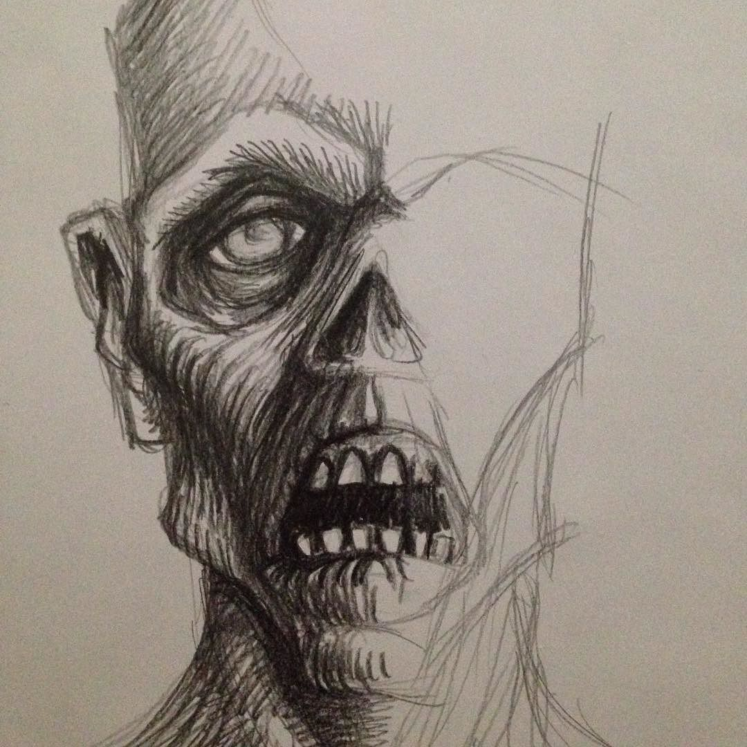 Another halloween ghoul pencil drawing art zombie