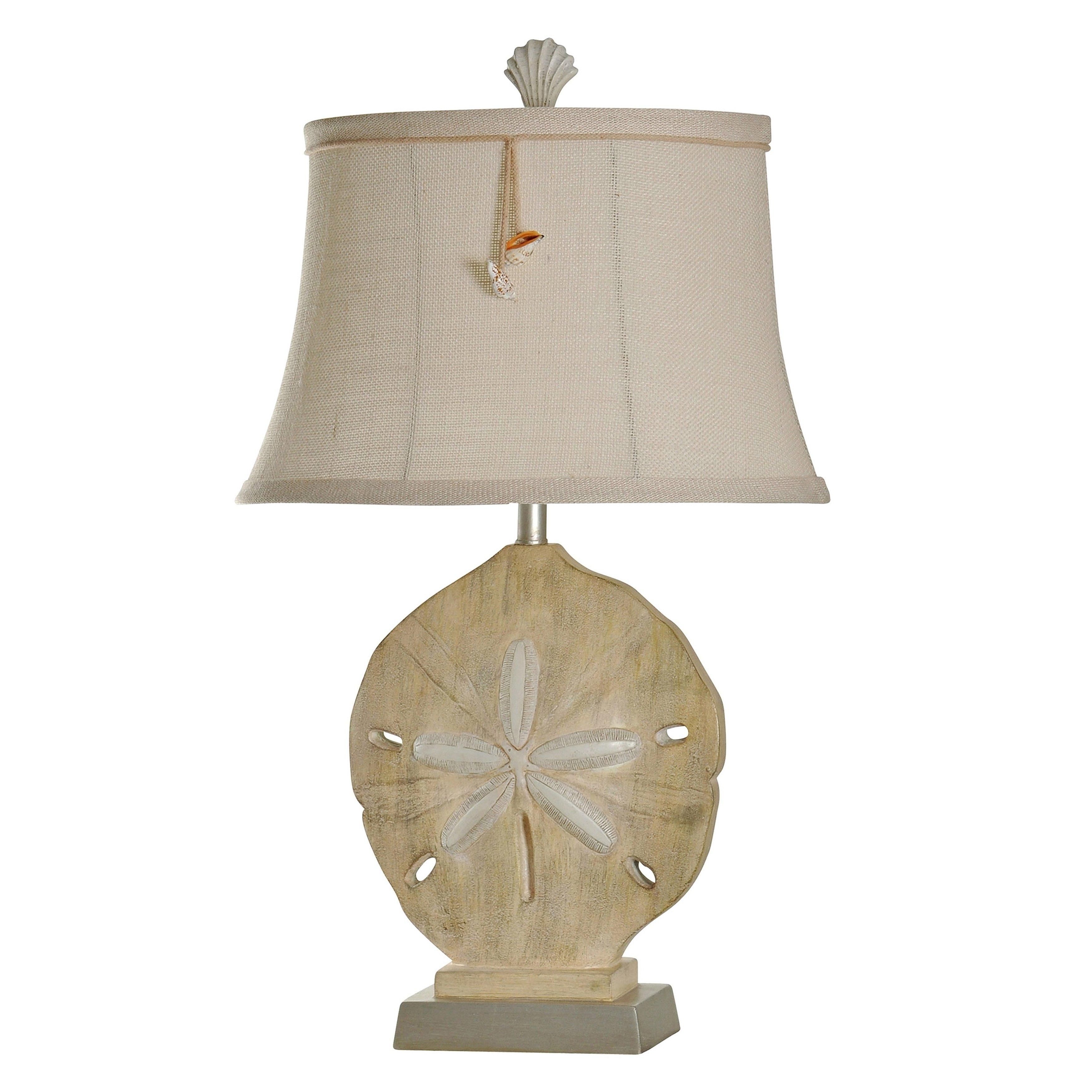 Vipiteno Sandstone Silver Table Lamp White Softback Fabric Shade