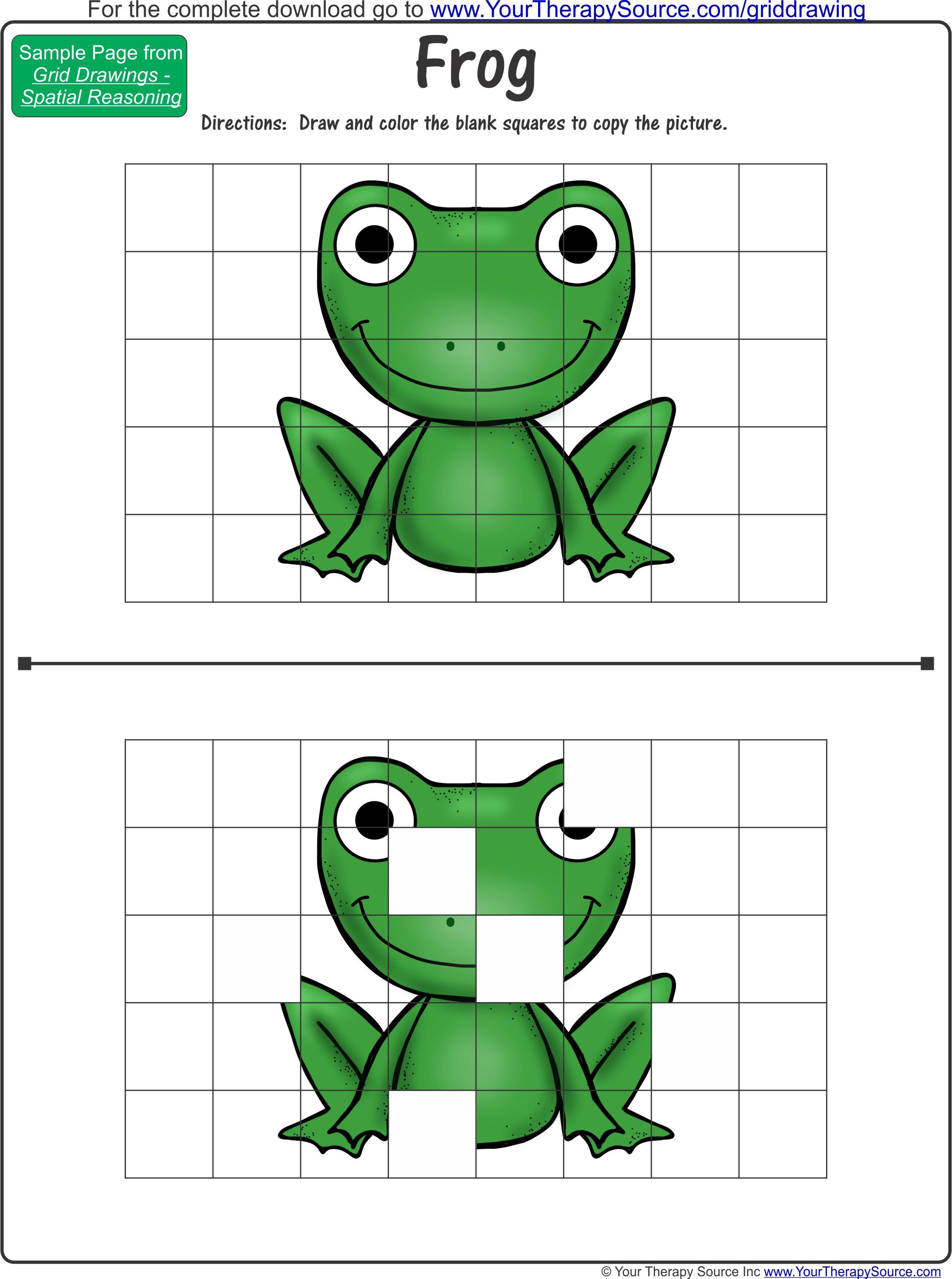 Free Frog Grid Drawing