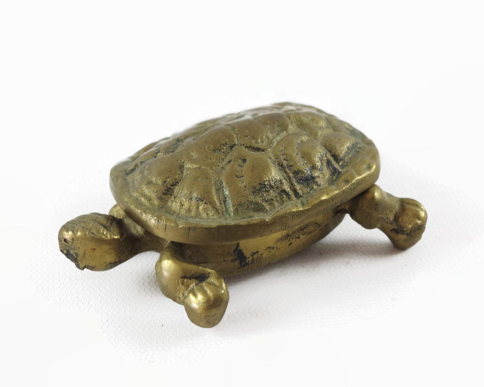 Brass Turtle Tortoise Jewelry Box Vintage Antique metal tarnish patina animal lover gift