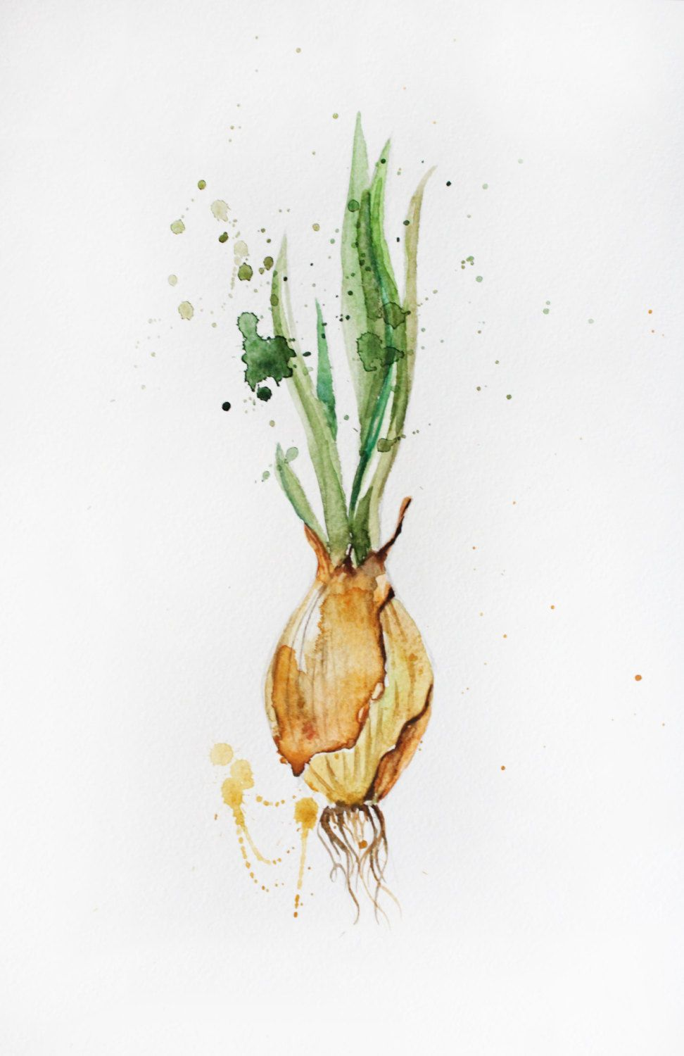 Original Watercolor Painting Green Onions Organic Vegetables