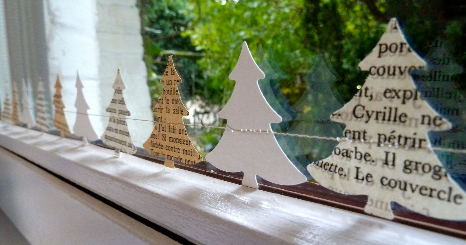 Christmas window decorations, Christmas tree garland