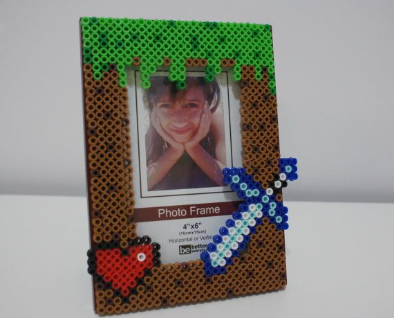 Minecraft grass block with heart and sword picture frame perler ...