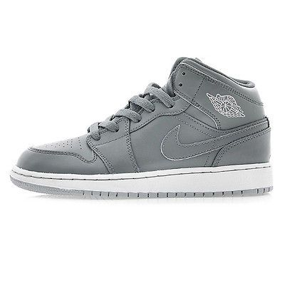 more photos 8129b 9edb3 Nike Air Jordan 1 Mid Gs Big Kids 554725-031 Cool Wolf Grey Shoes Youth  Size 6.5