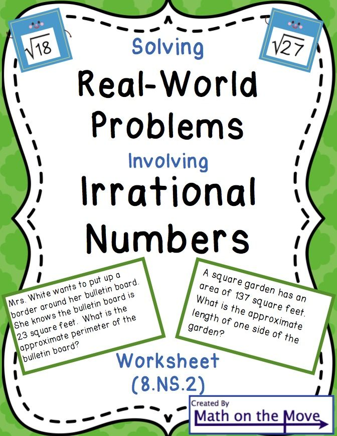 Irrational Numbers and Real World Problems Worksheet (8