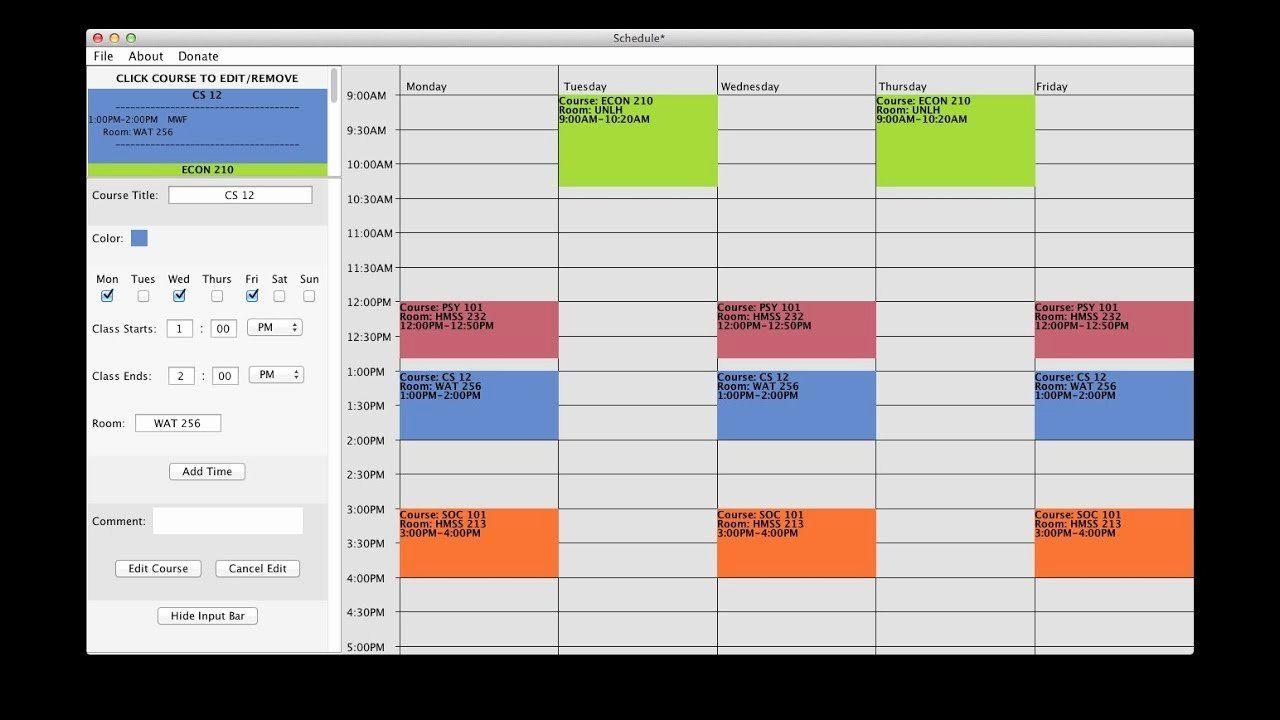 Free Class Schedule Template Fresh Free College Schedule Maker Builder Link In Description Class Schedule College Class Schedule Template Schedule Maker Free online college schedule maker