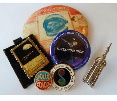 ee4b8c6b Vintage Gordon Cooper Space Shuttle Tie Tack NASA Apollo Stamp Pin Lot