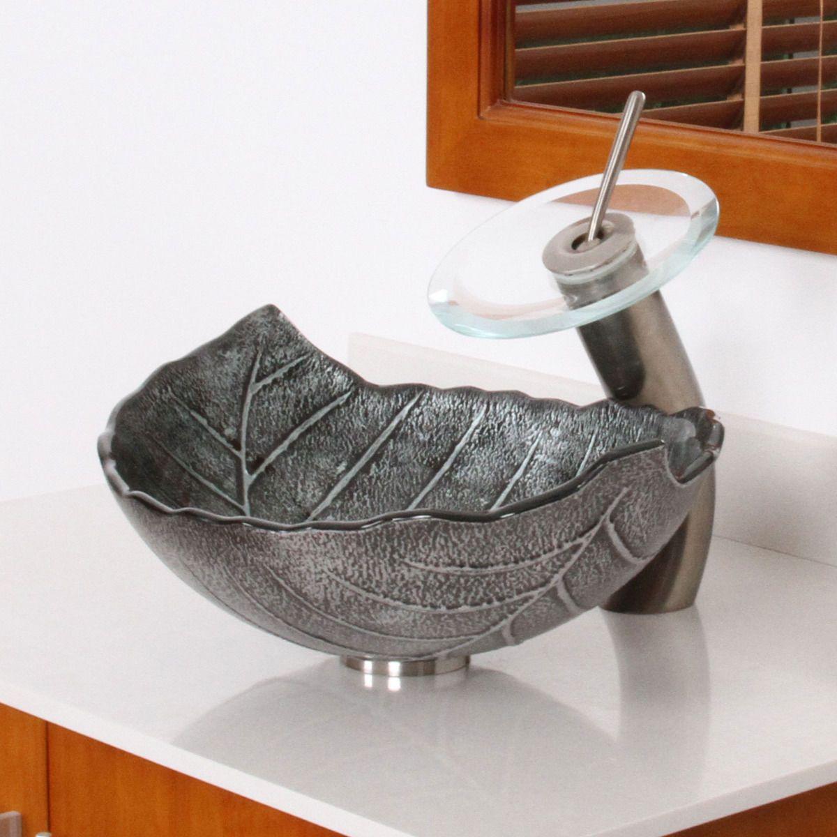 Bathroom Winter Leaves Design Glass Vessel Sink Nickel Waterfall