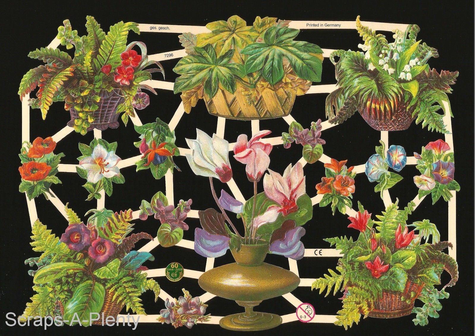 German Victorian Style Embossed Scrap Die Cut Flowers Potted Plants EF7296   eBay