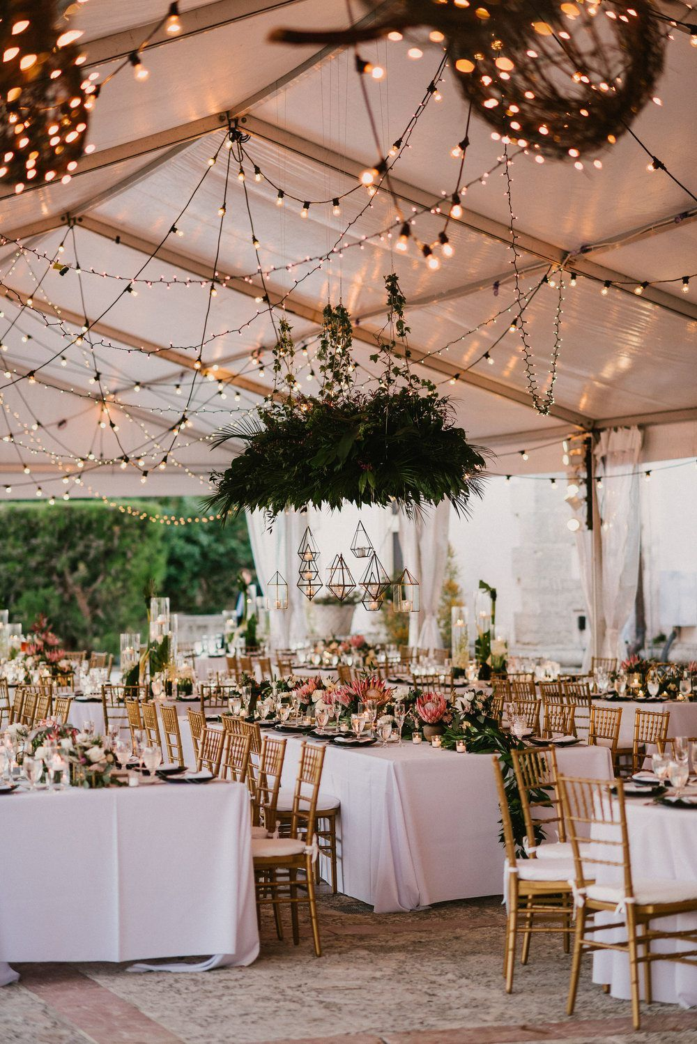 This Miami Wedding Glows Up With Reception Lantern Glory Modern Fashion Tropical Palm Fronds And Color Blocked Decor Elements Work Together To